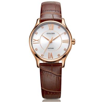 古尊(GOLGEN)手表 時尚系列石英女表棕色GN.19010L.RS