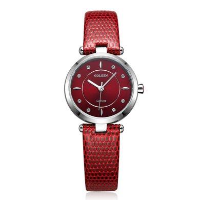 古尊(GOLGEN)手表 時尚系列石英女表紅色GN.19006L.PEE
