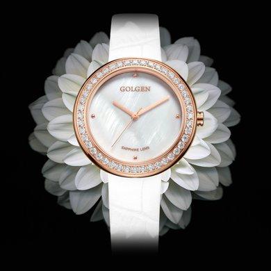 古尊(GOLGEN)手表 優雅系列石英女表白色GN.19012L.RS.W