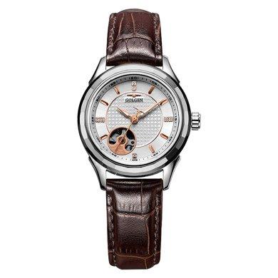 古尊(GOLGEN)手表 鏤空系列機械女表白色GN.16095L.VRS