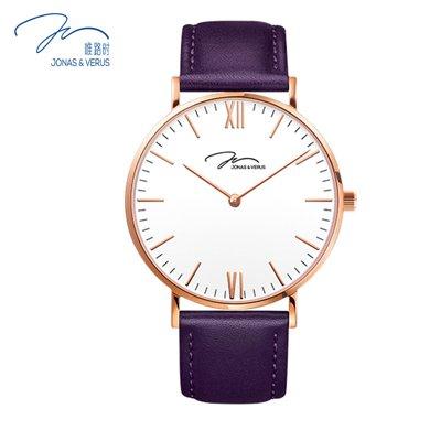 唯路時(JONAS&VERUS)手表 簡尚白盤皮帶石英女表X01646-Q3.PPWLX