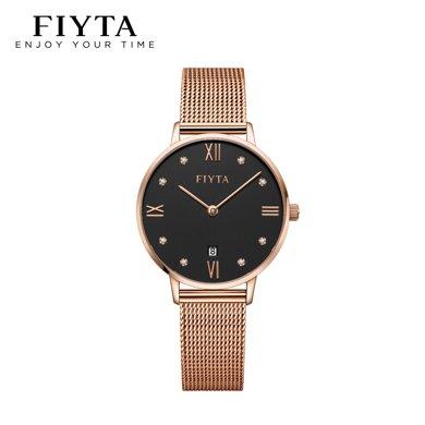 飛亞達(FIYTA)手表 One系列時尚簡約石英女士手表 黑盤鍍玫瑰金鋼帶 羅馬字釘 鐘表 DL850001.PBP