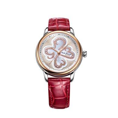 飛亞達手表女四葉草系列機械表鑲鉆紅色皮帶女表時尚潮流女士手表DLA0566.MWR