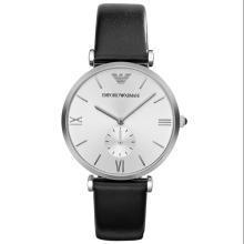 [支持购物卡]阿玛尼(Emporio Armani)手表皮质表带男士休闲简约时尚石英表时尚腕表男士腕表AR1674