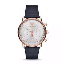 【支持購物卡】阿瑪尼 Emporio Armani 男士手表皮質表帶 歐美簡約經典商務時尚休閑石英腕表AR11123