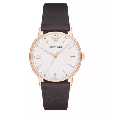 【支持購物卡】阿瑪尼(Emporio Armani)手表皮質表帶男士休閑簡約個性腕表石英表時尚腕表AR11011
