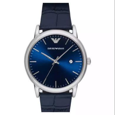 【支持購物卡】阿瑪尼(Emporio Armani)手表皮質表帶時尚休閑簡約石英男士腕表AR2501