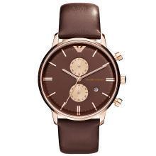 [支持购物卡]阿玛尼(Armani)男表经典商务石英表皮带休闲钢带皮带手表 AR0387