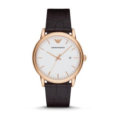 阿瑪尼(Emporio Armani)手表 皮質表帶經典時尚休閑石英男表 AR2502