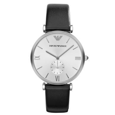 阿瑪尼(Emporio Armani)手表皮質表帶男士休閑簡約時尚石英表時尚腕表男士腕表AR1674