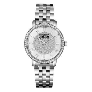 NATURALLY JOJO 熱賣推薦 SHINE系列時尚鑲施華洛鉆大表盤鋼帶女表JO0778-80F