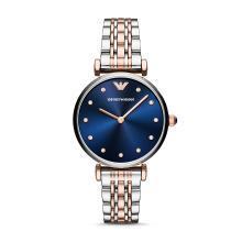[支持購物卡]阿瑪尼(Armani)滿天星鑲鉆時尚石英腕表 藍色鋼帶女表 AR11092