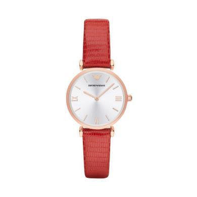[支持購物卡]阿瑪尼(Armani)手表 皮質表帶時尚休閑簡約女士石英皮帶腕表 AR1876