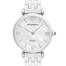 阿瑪尼(Emporio Armani)手表 滿天星女表簡約時尚休閑石英手表 白色陶瓷 AR1485