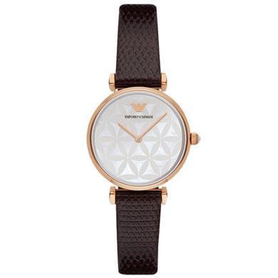 【支持購物卡】阿瑪尼(Armani)手表皮質表帶時尚休閑簡約石英女士腕表AR1990