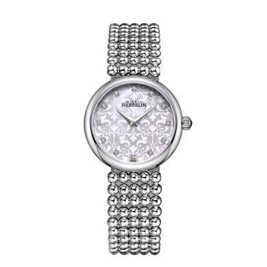 【支持購物卡】法國手表赫柏林 珍珠系列帶鉆表款時尚女士石英表17483B59