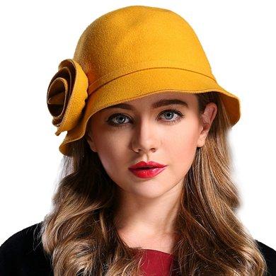 FORMIA芳美亞 女士帽秋冬百搭女帽 卷邊帽盆帽 圓頂羊毛 時尚禮帽SM6951002