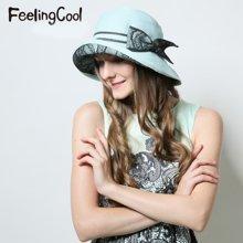 飞兰蔻女士优雅蕾丝草帽帽子透气太阳帽 舒适遮阳帽 夏帽