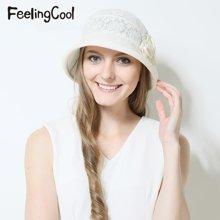 飞兰蔻女士亮片蕾丝小翻檐遮阳帽 舒适太阳帽 夏帽