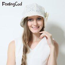 飞兰蔻女士亮片蕾丝简约透气遮阳帽 舒适太阳帽 夏帽