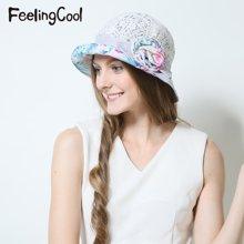 飞兰蔻女士夏威夷风蕾丝甜美透气钟型帽 舒适遮阳帽 夏帽