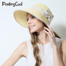飞兰蔻女士优雅蝴蝶结草帽透气太阳帽 舒适遮阳帽 夏帽