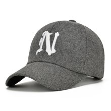 DAIYI戴奕帽子N字刺绣秋冬毛呢户外休闲棒球帽