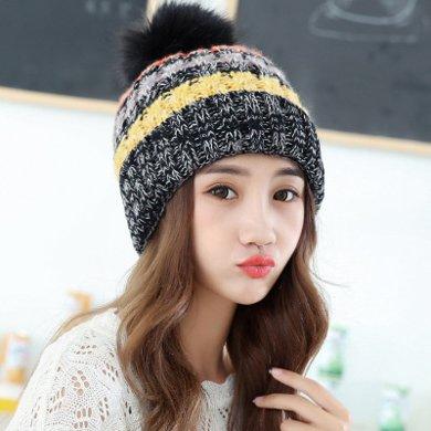 DAIYI戴奕帽子 韩版混色大球针织毛线帽