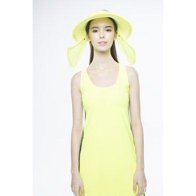 台湾后益hoii全面防护夏季遮阳帽范冰冰同款防晒帽-黄色