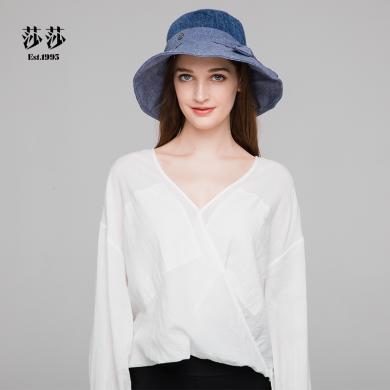 莎莎 時尚百搭太陽帽防嗮遮陽漁夫帽可折疊布帽