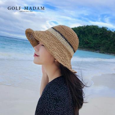 GOLF/高爾夫春夏新款百搭遮臉太陽帽沙灘帽遮陽小清新少女草帽 M903963