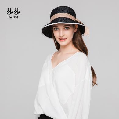 莎莎 時尚百搭蝴蝶結遮陽帽可折疊收縮太陽帽