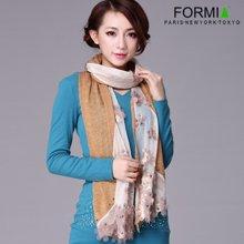 FORMIA芳美亚女士围巾新款撞色羊毛围巾长款围巾sl6800119 金色