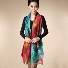 Formia芳美亚新款围巾精细羊毛披肩潮流花卉图案围巾
