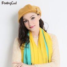 飞兰蔻 时尚贝雷帽盆时装帽秋冬帽子女可折叠帽子