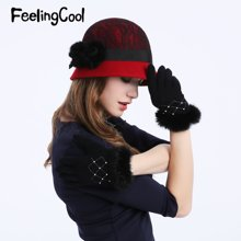 飞兰蔻纯羊毛呢帽冬帽女士帽子冬天渔夫帽盆帽礼帽呢帽