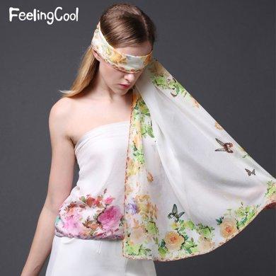 飛蘭蔻 水彩花卉印花桑蠶絲真絲絲巾
