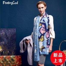 飞兰蔻纯羊毛围巾披肩女时尚蝴蝶 商场同款 新品上市