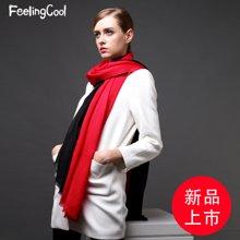 飞兰蔻 纯羊毛围巾女披肩拼色长围巾披肩两用 新品上市