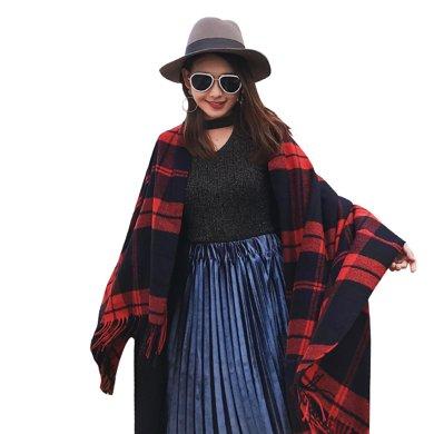 海谜璃(HMILY)英伦时?#26143;?#20908;季苏格兰格子围巾长款保暖披肩双面多色印花流苏围巾H9007