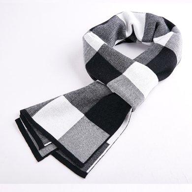 海謎璃(HMILY)優質羊皮秋冬季經典格子紋男士圍巾舒適保暖圍脖禮盒包裝送禮之選H9009