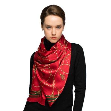 莎莎品牌麥穗長巾大氣禮品絲巾長款桑蠶絲圍巾