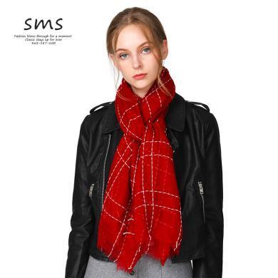 SMS歐美風羊絨圍巾女薄款秋冬季格子酒紅百搭新款羊毛圍脖