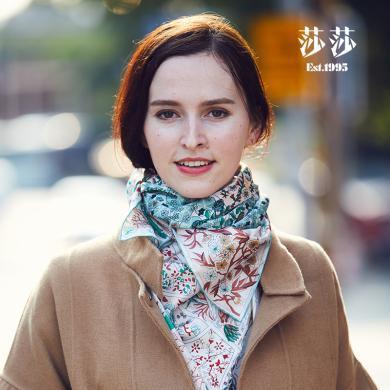 莎莎 四季花女士緞面圍巾 桑蠶絲大方巾
