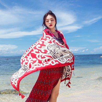 DAIYI戴?#20154;?#24062; 民族风防晒沙滩披肩围巾