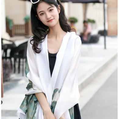 DAIYI戴奕絲巾 水墨畫大花桑蠶絲絲巾