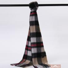 POSH珀诗 澳大利亚高端经典围巾 格纹羊毛宽格灰驼色(1条)