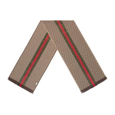 [支持购物卡](现货)GUCCI/古驰  男女款双G提花饰条纹织带围巾 35cm x180cm