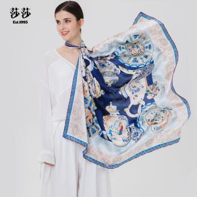 莎莎圍巾  緞面大方巾手工卷邊100%桑蠶絲絲巾-詠畫屏風