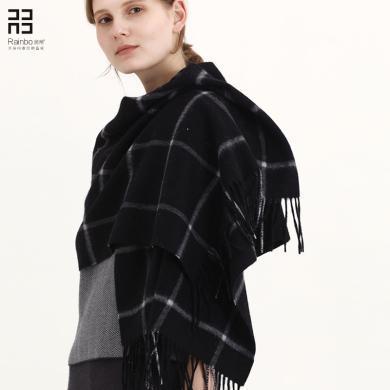 润帛 英伦经典纯羊毛格子围巾女 秋冬季加厚羊羔绒小披肩两用保暖